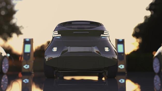 Borne de recharge pour voitures électriques. voitures électriques à la borne de recharge