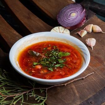 Bortsch avec branche d'ail et épicéa et oignon dans une assiette ronde