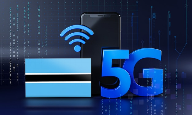 Le botswana est prêt pour le concept de connexion 5g. fond de technologie smartphone de rendu 3d
