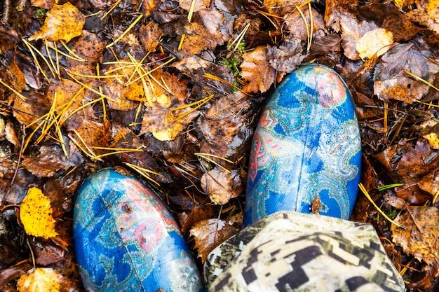 Bottes en caoutchouc bleues sur le fond des feuilles tombées d'automne