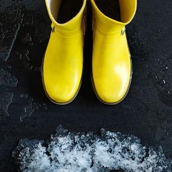 Bottes en caoutchouc jaune devant la neige qui fond