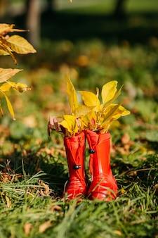 Bottes en caoutchouc pour enfants rouges avec des feuilles jaunes à l'intérieur