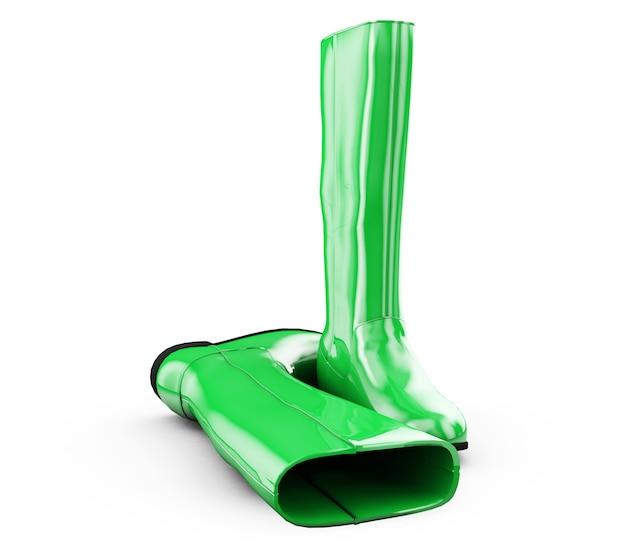 Bottes vertes sur blanc 3d illustration