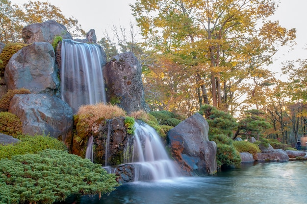Bouchent la belle cascade et la forêt changent de couleur en automne au japon.