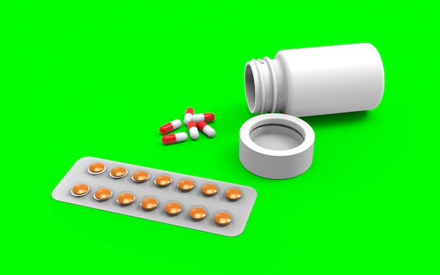 Bouchent la bouteille de pilule blanche avec des capsules renversées sur fond vert jade avec un tracé de détourage.