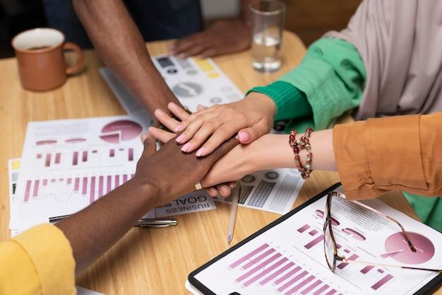 Bouchent le concept de travail d'équipe