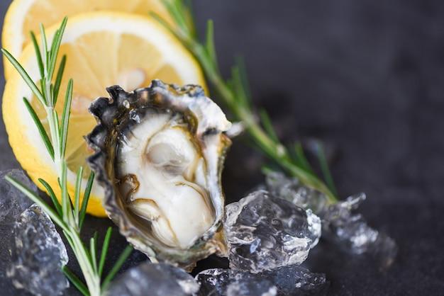 Bouchent la coquille d'huître ouverte avec des épices aux herbes, du romarin au citron, une table et de la glace, des fruits de mer sains, un dîner d'huîtres crues dans le restaurant gastronomique. fruits de mer d'huîtres fraîches sur plaque noire