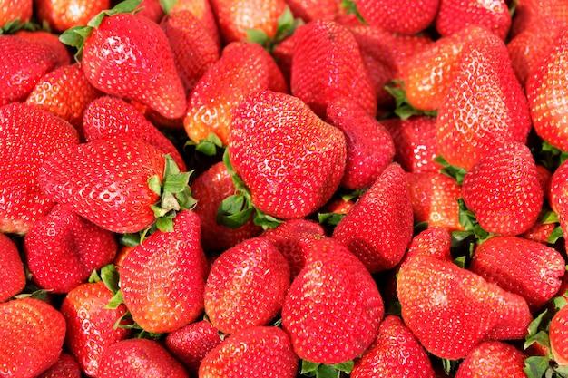 Bouchent fraises fraîches à l'étal de marché dans le sud de l'espagne