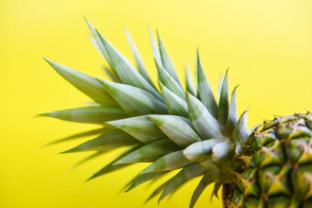 Bouchent les fruits d'été d'ananas frais sur un jaune