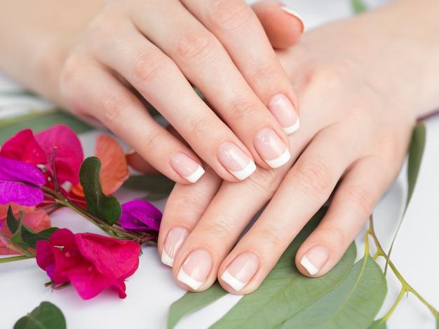 Bouchent les mains manucurées et les fleurs