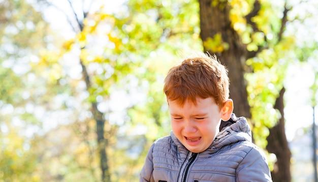 Bouchent le portrait de jeune garçon qui pleure
