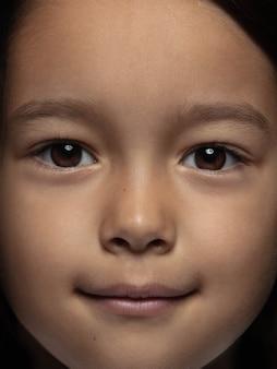Bouchent le portrait de petite fille asiatique émotionnelle.