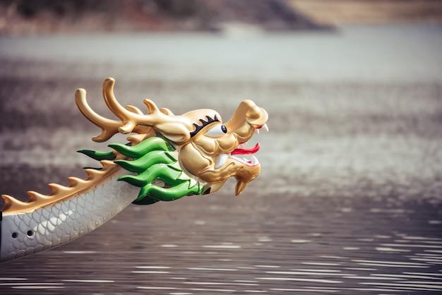 Bouchent la tête du bateau-dragon sur l'eau
