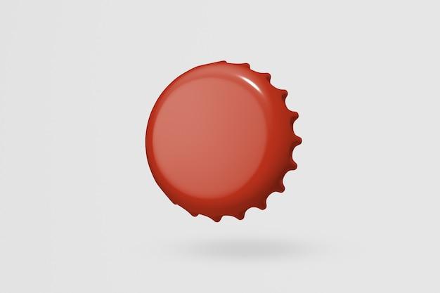 Bouchon de bouteille rouge, fond blanc avec espace design