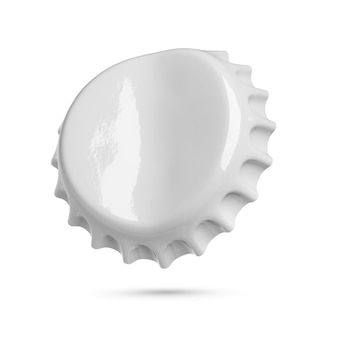 Bouchon de couronne de soda ou de bière gris plié vide isolé