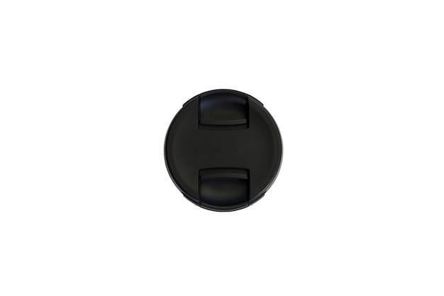 Bouchon d'objectif de l'appareil photo reflex sur fond isolé blanc