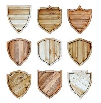 Bouclier en bois fond de signe de texture en bois isolé sur blanc