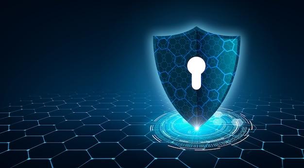 Bouclier avec clé à l'intérieur sur fond bleu le concept de cybersécurité internet