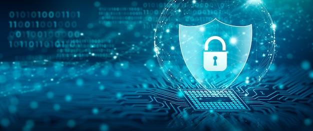 Bouclier avec l'icône de cadenas bloc d'attaque de cyber-données et concept de confidentialité de l'information