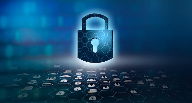 Bouclier de protection des appareils informatiques hautement sécurisé. fond bleu