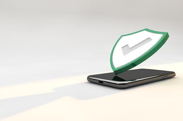 Bouclier de protection contre la cybersécurité sur smartphone