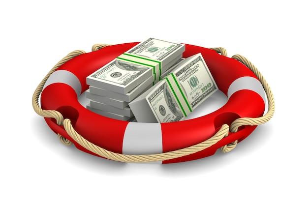 Bouée de sauvetage et argent sur blanc. illustration 3d isolée