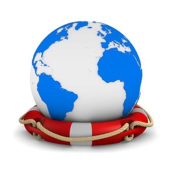 Bouée de sauvetage et globe sur blanc. illustration 3d isolée