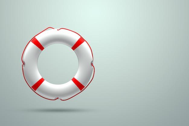 Bouée de sauvetage sur un mur léger. aide, concept de sauvetage. copiez l'espace. illustration 3d, rendu 3d.