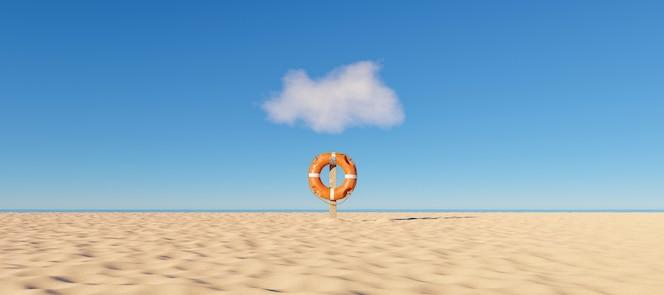 Bouée de sauvetage seule sur une plage avec la mer en arrière-plan et un petit nuage au-dessus
