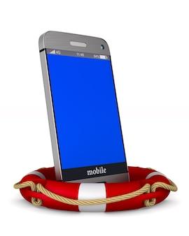 Bouée de sauvetage et téléphone sur blanc