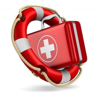 Bouée de sauvetage et trousse de premiers soins sur blanc. illustration 3d isolée