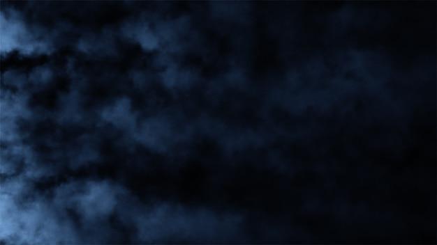 Bouffées de fumée se déplaçant rapidement sur un fond noir isolé