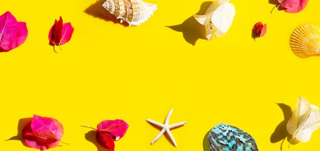 Bougainvilliers rouges et blancs avec étoiles de mer et coquillages sur fond jaune.