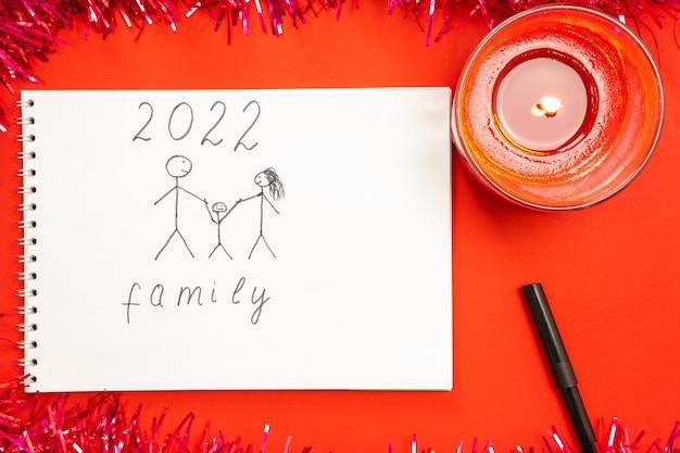 Une bougie allumée rouge, sur fond rouge et une photo d'un enfant désireux de vivre dans une famille amicale et heureuse. décoration du nouvel an.