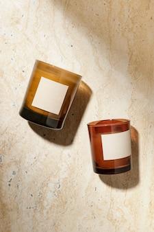 Bougie aromatique en verre esthétique, décor à la maison