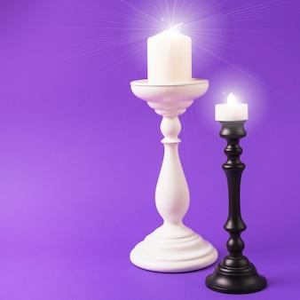 Des bougies allumées sur des montures