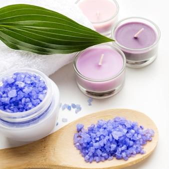 Bougies aromatiques de gros plan pour spa