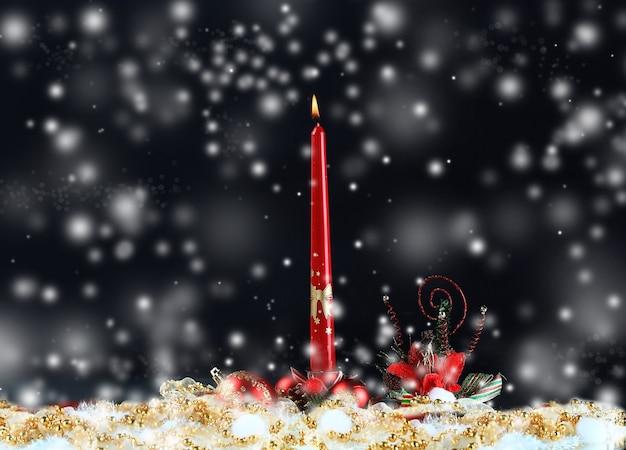 Bougies de noël et du nouvel an et décorations de noël sur fond de nuit