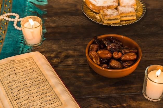 Bougies près de coran ouvert et bol avec des dates