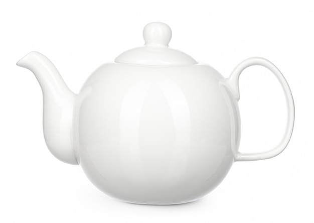 Bouilloire en céramique blanche isoler sur fond blanc