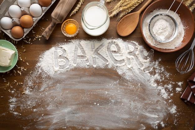 Boulangerie avec des ingrédients de boulangerie bio