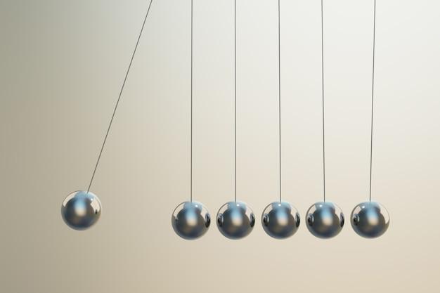 Boule d'acier avec swing et stimulation de la force pour le travail, concept de leadership, rendu d'illustrations 3d
