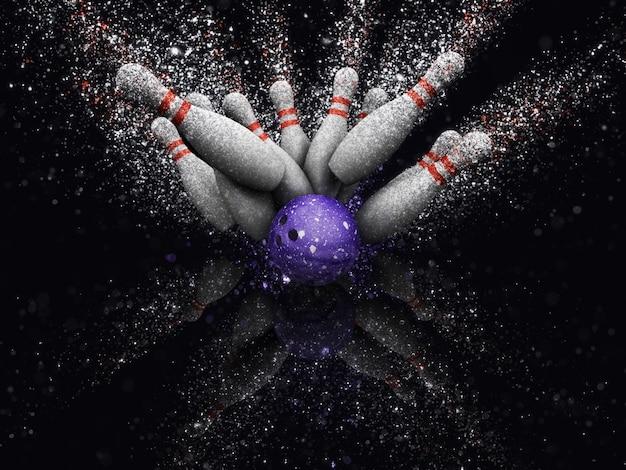 Boule de bowling avec le bowling