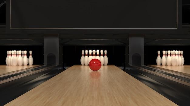 Boule de bowling rouge sur une piste en bois avec des épingles
