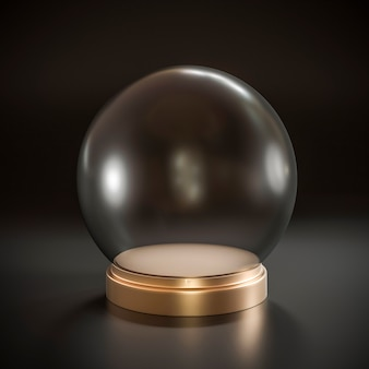 Boule de cristal vide avec base en métal doré.
