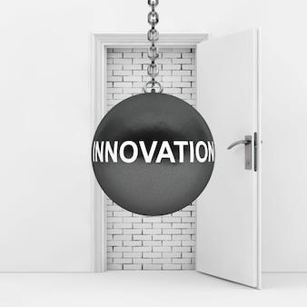 Boule de démolition avec signe d'innovation prêt à détruire le mur de briques qui a bloqué la porte en gros plan extrême