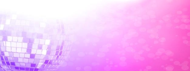 Boule à facettes avec fond coloré. discothèque de nuit. mauve rose. photo de haute qualité