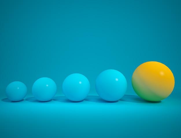 Boule jaune exceptionnelle et boule bleue sur fond bleu espaceconcept minimall rendu 3d