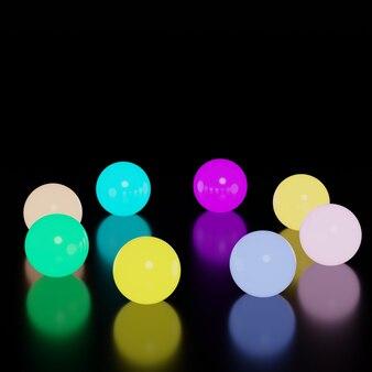 Boule lumineuse en verre coloré au néon.