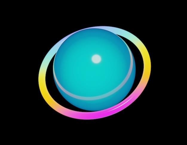 Boule lumineuse en verre coloré néon.